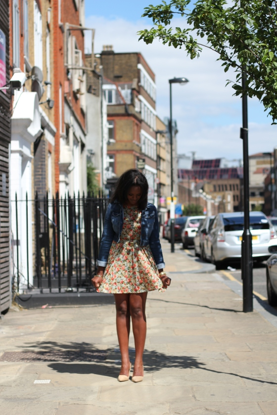 Floral Dress Denim Coat Topshop