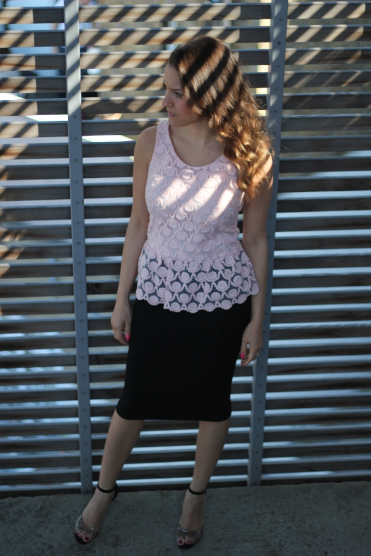 next peplum pink lace top