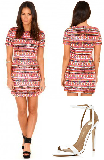 Sandre Aztec Sequin Mini Dress