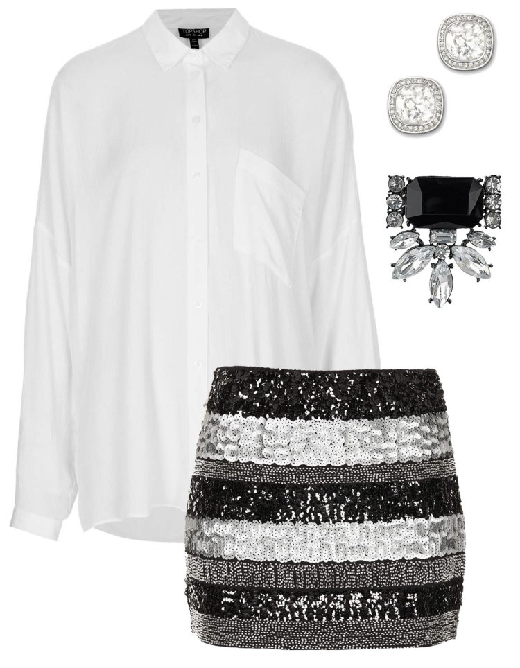 NYE Topshop Sequin Brooch Swaroski Diamonte London The Coup Fashion Outfit Inspiration