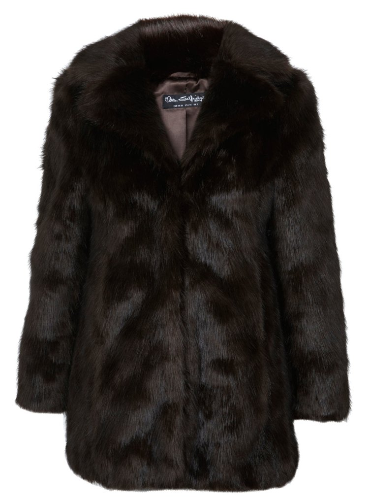 Miss Selfridge Brown Faux Fur coat london fashion