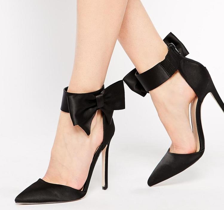 asos bow silk heel