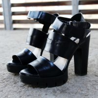 Zara track sole leather platform heels