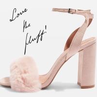MAISON Faux Fur Block Heel Sandals